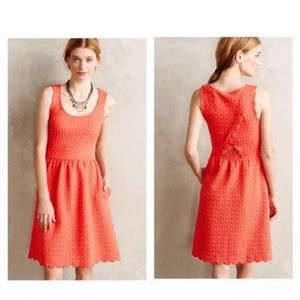 Anthropologie | Maeve Scalloped coral fit & flare